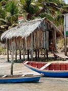 People, cottage, boats, Rio Preguiças, Mandacaru, Maranhão, Brazil
