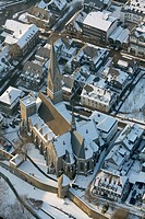 Aerial photo, church in the snow in winter, town centre, Olpe, North Rhine-Westphalia, Germany, Europe