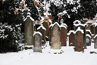 Snowy Jewish cemetery in southern Germany