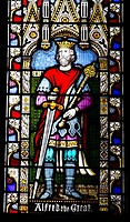 Stained glass window of Alfred the Great in Winchester Cathedral, Hampshire, England, UK