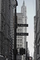 Street Sign for Wall Street, New York City, USA