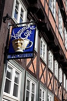 Cafè-sign made of ceramic, on a half-timbered house from the 17th century, Stieg, Quedlinburg, Harz, Saxony-Anhalt, Germany, Europe