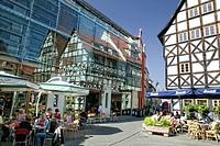 Sidewalk cafe in Erfurt, Thuringia, Germany, Europe