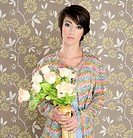 retro woman portrait 60s fashion vintage flowers vase wallpaper