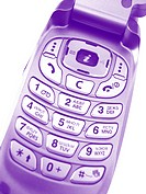 violet mobile phone over a white background