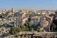 View from the Palatine Hill on the Forum Romanum or Roman Forum, Rome, Lazio, Italy, Europe