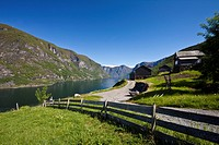 View from the old farm settlement Otternes Bygdetun towards the Aurland, Norway, Scandinavia, Europe