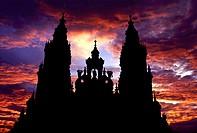 Silhouette of cathedral, Santiago de Compostela, La Coruña province, Galicia, Spain