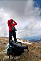 hiker on Chornogora Ridge of Carpathian Mountains