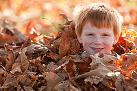 Caucasian boy hiding in autumn leaves