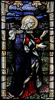 Stained glass window depicting Saint Mary, St Eata's Church, Atcham, Shropshire