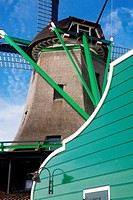 Typical windmill of Zaanse Schans, in the North Holland province  Holland