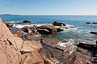 Rocky coastline at Thunder Hole in Acadia National Park near Bar Harbor, Maine