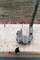Worker and air conditioning, 798 Art District, Chaoyang District, Beijing, China, Asia