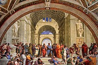 Wall fresco in the Raphael Room in the Vatican Museum