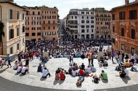 Tourists flock to the Spanish Steps Piazza Di Spagna in Rome, Italy