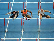 Men's Hurdles, left to right: Helge SCHWARZER GER, David OLIVER USA, Petr SVOBODA CZE, Sparkassen-Cup 2010 sports tournament, Hanns-Martin-Schleyer-Ha...