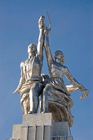 Monument to Worker and Peasant Woman, by Soviet sculptor Vera Muhina, created in 1937 and restored in 2009, Moscow, Russia