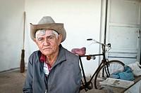 Old man with cowboy hat, Cienfuegos, Cuba, Caribbean