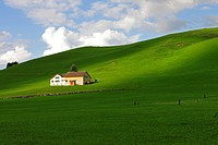 Farmhouse in the midst of green pastures, canton of Appenzell, Switzerland, Europe
