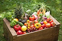 Crate of fresh vegetables and fruit