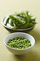 Small bowl of peas and shells