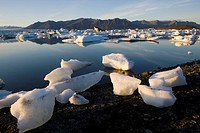 Ice on shore, Jokulsarlon, Iceland