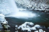 Snowy waterfall in winter