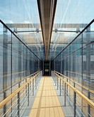 Glass enclosed skywalk