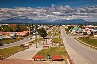 Puerto Natales, Avenue of Santiago Bueras and the Four tribes park, Patagonia, Chile