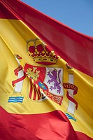 Spanish flag, Plaza Mayor, Madrid, Spain