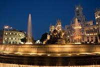 Cibeles Fountain and Palacio de Comunicaciones, Madrid, Spain