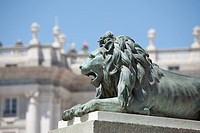Statue of Lion in front of the Palacio Real, Madrid, Spain