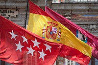 Madrid and Spanish flag, Plaza Mayor, Madrid, Spain