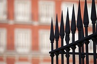 Railings in front of apartments, Plaza Mayor, Madrid, Spain