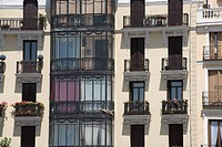 Facade of apartments, Plaza de Oriente, Madrid, Spain
