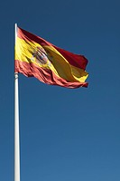 Spanish flag, Plaza de Colon, Madrid, Spain