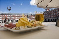 Food on cafe table, Plaza Mayor, Madrid, Spain