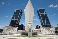 Monument and Kio Towers, Plaza de Castilla, Madrid, Spain