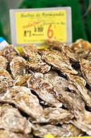 Fresh Oysters in shell, Fish market, Paris France