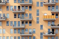 Balconies on Modern apartment block, Munich, Bavaria, Germany