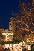Rindermarkt, Christmas Market and ST.Peter church tower Munich, Bavaria, Germany
