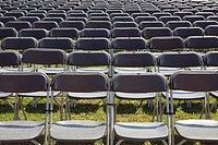 Row of spectator chairs, Munich, Germany