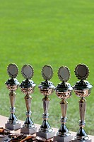Display of football trophies, Munich, Bavaria, Germany