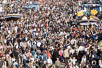 Crowd of visitors at the Oktoberfest beer festival in Munich, Germany