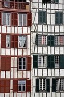 Quarter timbered buildings with shuttered windows, Bayonne, Aquitaine, France, Europe