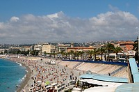 View of Nice and beach, Nice, Cote d´Azur, Provence, France, Europe