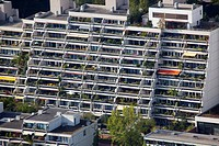 Former Olympic Village, view from the Olympic Tower in Munich, Bavaria, Germany, Europe