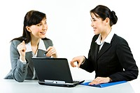 Portrait of two smiling business ladies sitting at laptop pointing at its screen and looking at each other