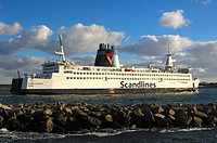 Scandlines ferry Kronprins Frederike entering into the overseas port of Rostock-Warnemuende, Mecklenburg-Western Pomerania, Germany, Europe